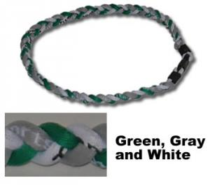 3 Rope Tornado Titanium Necklace<br /> (Green/Grey/White)