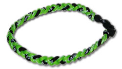 3 Rope Tornado Titanium Necklace (Neon Green/Black/Neon Green)