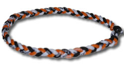 3 Rope Tornado Titanium Necklace (Orange/Black/White)