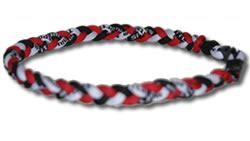 3 Rope Tornado Titanium Necklace (Red/White/Black)