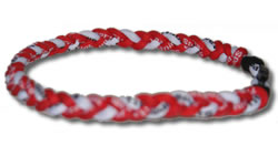 3 Rope Tornado Titanium Necklace (Red/White/Red)