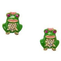 Betsey Johnson Green Frog Stud Earrings