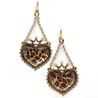 BETSEY JOHNSON Leopard Crown Heart Drop Earrings