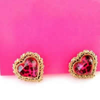 BETSEY JOHNSON Pink Leopard Heart Stud Earrings