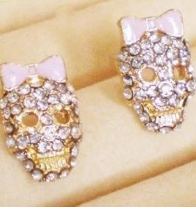Betsey Johnson Skull Rhinestone Earrings