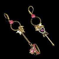 Betsey Johnson Pink Drop Crown Crystal Earrings