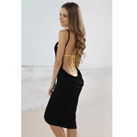 Black Open Back Cover up Beach Dress
