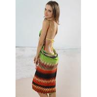 Geometric Green Open Back Cover up Beach Dress