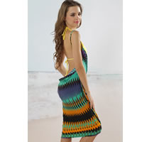 Geometric Open Back Cover up Beach Dress
