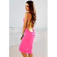 Hot Pink Open Back Cover up Beach Dress