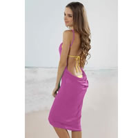 Lavender Open Back Cover up Beach Dress