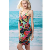 Tropical Leaf Open Back Cover up Beach Dress