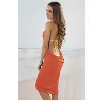 Orange Open Back Cover up Beach Dress