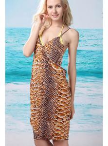 Snakeskin Open Back Cover up Beach Dress
