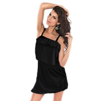 Black Ruffle Beach Cover up Beach Dress