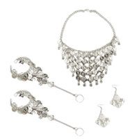 Belly Dance Silver Coin Jewelry Set