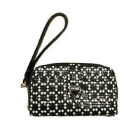 Betsey Johnson Metal Heart Black White Wristlet Wallet Phone Case