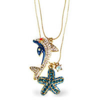 Betsey Johnson Dolphin and Starfish 2 Row Necklace