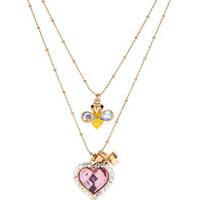 BETSEY JOHNSON Secret Garden Heart Bee 2 Row Necklace