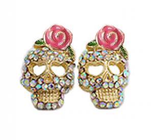 Betsey Johnson Rose Skull Stud Earrings
