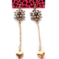 Betsey Johnson Flower  Dangle Crystal Earrings