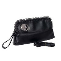 Black Skull Adornment Clutch
