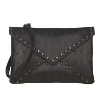 Black Skull Envelope Clutch Purse With Hematite Adornment