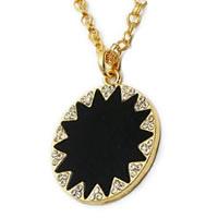 Black Geometric Sunburst Gold-tone Necklace