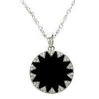Black Geometric Sunburst Silver-tone Necklace