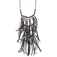 ZAD 3 Tier Black Linen Strip Fringe Necklace