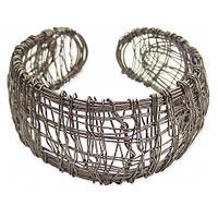ZAD Black Metal Messy Wire Wrapped Cuff Bracelet