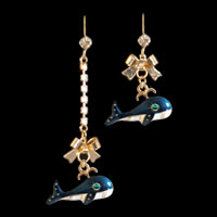Blue Whale Dangle Earrings