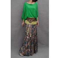 Bohemian Floral Skirt Green