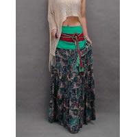 Bohemian Floral Skirt Teal
