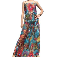 Bohemian Strapless Peacock Dress