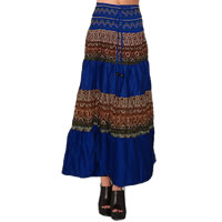 Boho Patchwork Skirt in dark blue