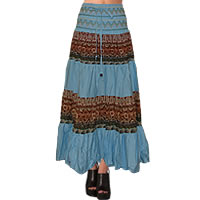 Boho Patchwork Skirt in light blue