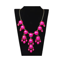 Bubble Bib Necklace in Pearl Hot Pink