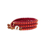 Chan Luu Silver and Leather Coral Wrap Bracelet