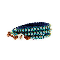 Chan Luu Silver and Leather Turquoise Wrap Bracelet