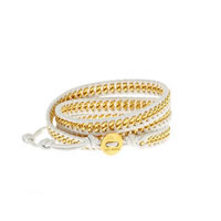 Chan Luu White Chain and Leather Wrap Bracelet