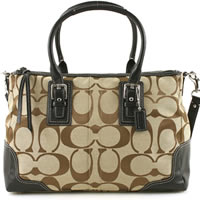 Coach Hampton Khaki/Black Signature Satchel
