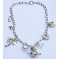 Couture Style Charm Necklace Silver