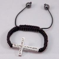 Black Woven Clear Cross Cord Friendship Bracelet