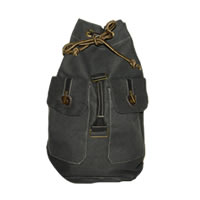 Black Drawstring Canvas Backpack