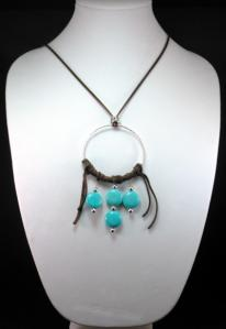 Hippie Chic Trendy Dream Hoop Necklace with turquoise nuggets