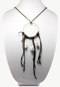Hippie Chic Trendy Dream Hoop Necklace with white nuggets