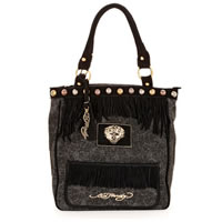 Ed Hardy Women's Finly Fringe Black Cotton/Leather Tote