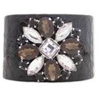 ZAD Faux Crocodile Skin Rhinestone Flower Cuff Bracelet