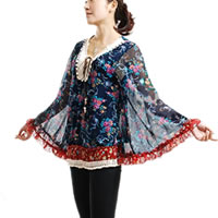 Floral Bell Sleeve Chiffon Blouse